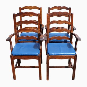Oak Carver Dining Chairs with Blue Leather Seats, 1960s, Set of 4