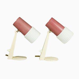 Vintage Bedside Lamps in Aubergine & Cream, 1960s, Set of 2