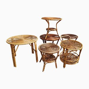 Kleine Italienische Korbgeflecht Tische, 1950er, 6er Set