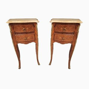 Louis XV Style Marquetry Bedside Tables, Set of 2