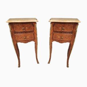 Tables de Chevet Style Louis XV en Marqueterie, Set de 2