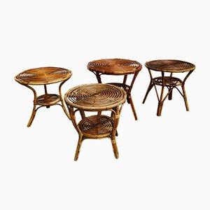 Kleine Italienische Korbgeflecht Tische, 1950er, 4er Set
