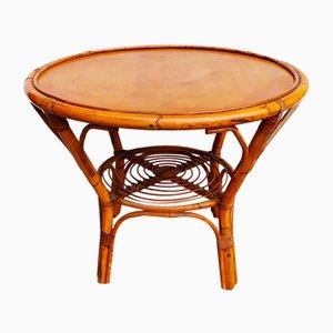 Italian Round Wicker Table, 1950s
