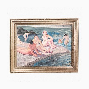 Painting of Women on the Beach at Pegli by Valente Assenza