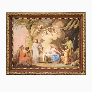 Antique Religious Painting, Adoration of the Shepherds, 19th Century
