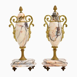 Antique French Marble & Gilt Bronze Urns, Set of 2