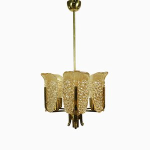Aventurine Glass MCM Chandelier by Carl Fagerlund for Orrefors, Sweden