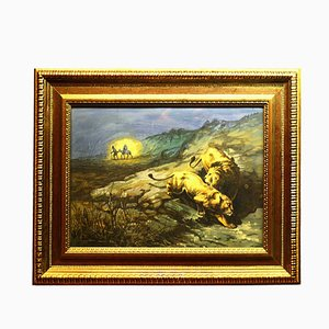 Countryside Painting with Figures by Giuseppe Bongiovanni