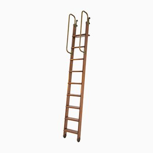 Vintage Italian Bookcase Ladder in Brass and Wood