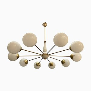 Large Mid-Century Opaline Glass and Brass 10-Light Chandelier