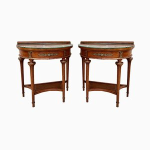 Empire Style Mahogany Nightstands with Bronze and Brass Details, 1930s, Set of 2