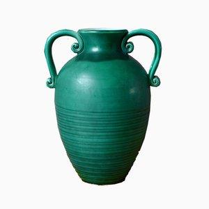 Large Green Art Deco Vase by Elchinger