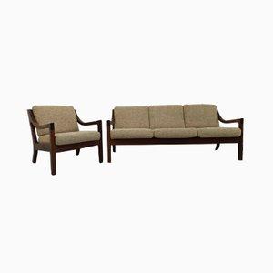 Mid-Century Mahogany Living Room Set, Set of 2