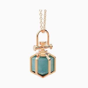 Modern Sacred 18k Solid Rose Gold Mini Six Senses Talisman Pendant Necklace with Natural Amazonite by Rebecca Li