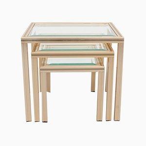 Brass Nesting Tables by Pierre Vandel, France, 1970s, Set of 3