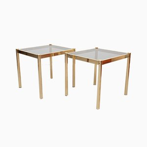 Brass Side Tables with Smoked Glass Tops, France, 1970s, Set of 2