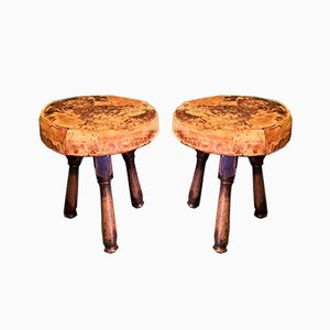 Antique Wood and Leather Stool