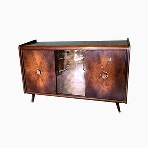 Vintage Walnut Veneer Sideboard with Showcase Bar