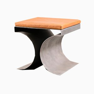 Vintage Brutalist X Stool in the Style of Michel Boyer, 1970s