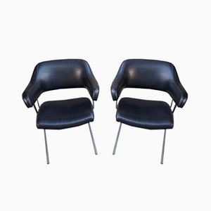 Chaises Vintage en Similicuir Noir, Set de 2