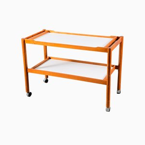 Large Mid-Century German Teak Trolley with White Trays