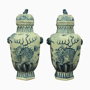 Large Chinese Vases with Lids, 1930s, Set of 2