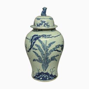 Große Chinesische Vase in Blau & Weiß, 1950er