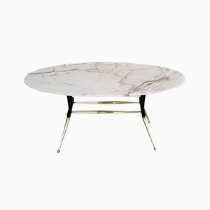 Vintage Italian Coffee Table with Pink Gray Marble Top, 1950