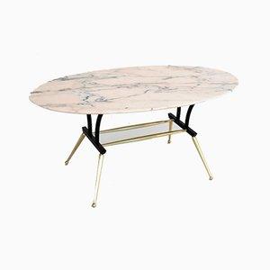 Tavolino vintage in marmo ed ottone, Italia, anni '50
