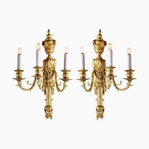 Lampade da parete antiche in bronzo dorato, set di 2