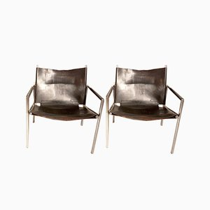 First Edition SZ02 Chairs in Patinated Black Leather and Chromed Metal by Martin Visser for 't Spectrum, Holland, 1964, Set of 2