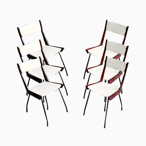 Mid-Century Dining Chairs in Leatherette from RB Rossana, Italy, 1960s, Set of 6