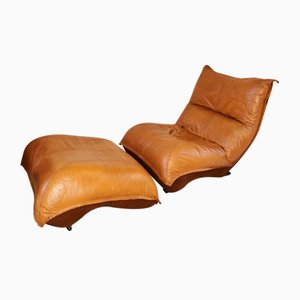 Brown Leather Lounge Chair and Footstool, 1960