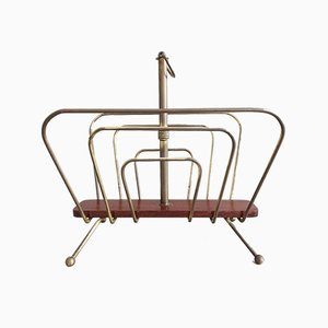 Magazine Rack in Brass and Wood in the Style of Carl Auböck from Werkstätte Carl Auböck