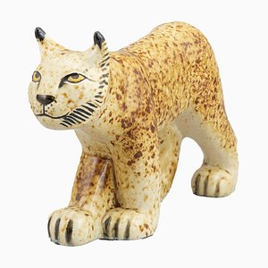 Limited Edition Stoneware Lynx for the Benefit of WWF by Lisa Larson for Gustavsberg, 1975