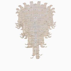 Lámpara de araña italiana de cristal de Murano, años 80