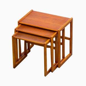 Scandinavian Teak Trundle Nesting Tables, Set of 3