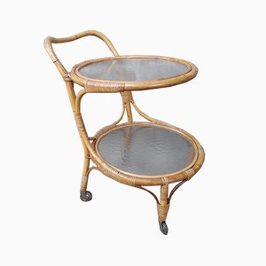 Rolling Rattan Serving or Bar Trolley, 1950s