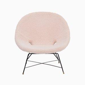 Italienischer Mid-Century Kosmos Sessel mit Bezug aus beigefarbenem Teddyfell von Augusto Bozzi für Saporiti
