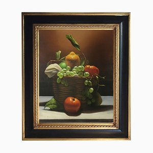 Basket with Fruit, Realist Oil on Canvas