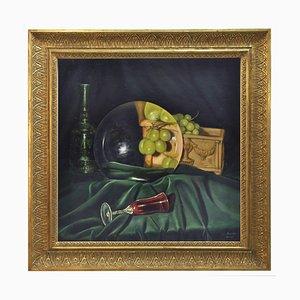 La lente e l'uva, Realist Oil on Canvas