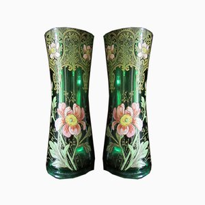 Art Nouveau Enameled Glass Poppies and Lace Vases from Legras, Set of 2