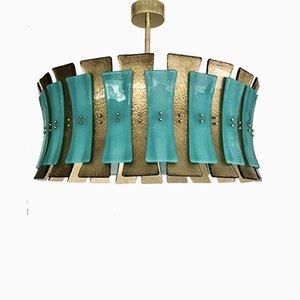 Mid-Century Round Aqua Green & Gold Murano Glass and Brass Chandelier, 1970s
