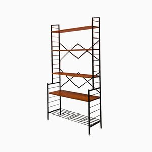 Mid-Century Modern Italian Self-Supporting String Bookcase with Brass, 1960s