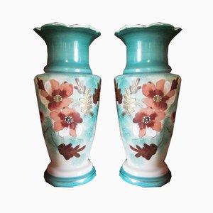 Vasen aus Glasiertem Opalglas mit Blumenmustern, 1900er, 2er Set