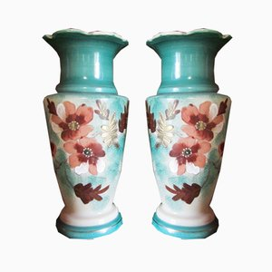Vases in Glazed Opaline with Floral Motifs, 1900s, Set of 2