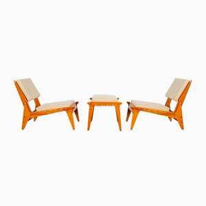 Lounge Chairs with Footstool, Set of 3