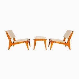 Sessel mit Fußhocker, 3er Set