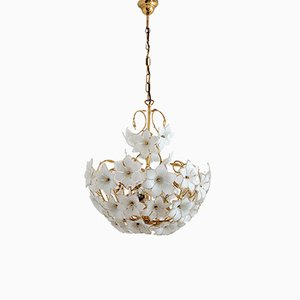 Vintage Italian Chandelier with Murano Glass Flowers and Golden Metal, 1970