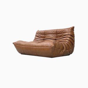 Sofá de dos plazas francés vintage de cuero marrón de Michel Ducaroy para Ligne Roset